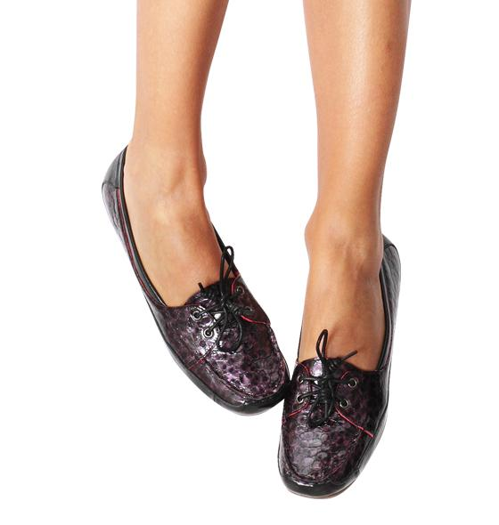 Black and Purple Crocodile Moccasins