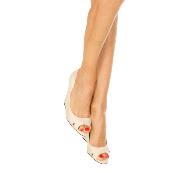 Cream Peep Toe Wedge