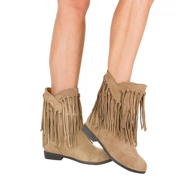 Taupe Cowgirl Tassel boots