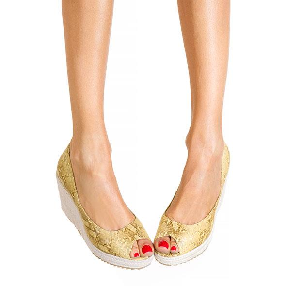 Gold/Snake Peep Toe Wedge