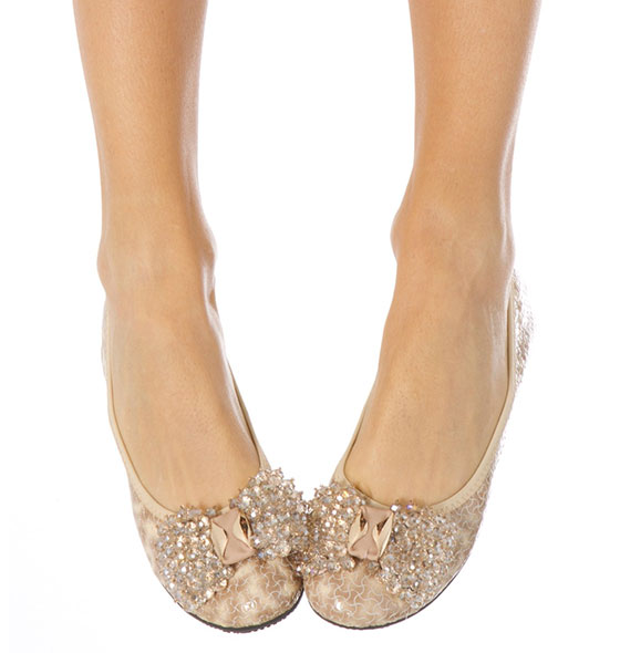 Beige Embellished Pump