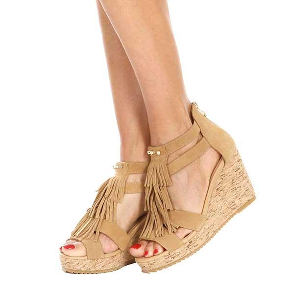 Tan Tassel Wedge